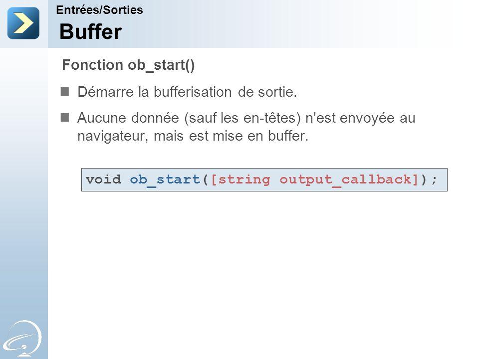 Buffer Fonction ob_start() Démarre la bufferisation de sortie.