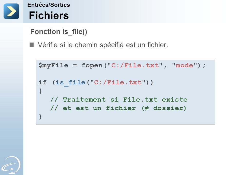Fichiers Fonction is_file()