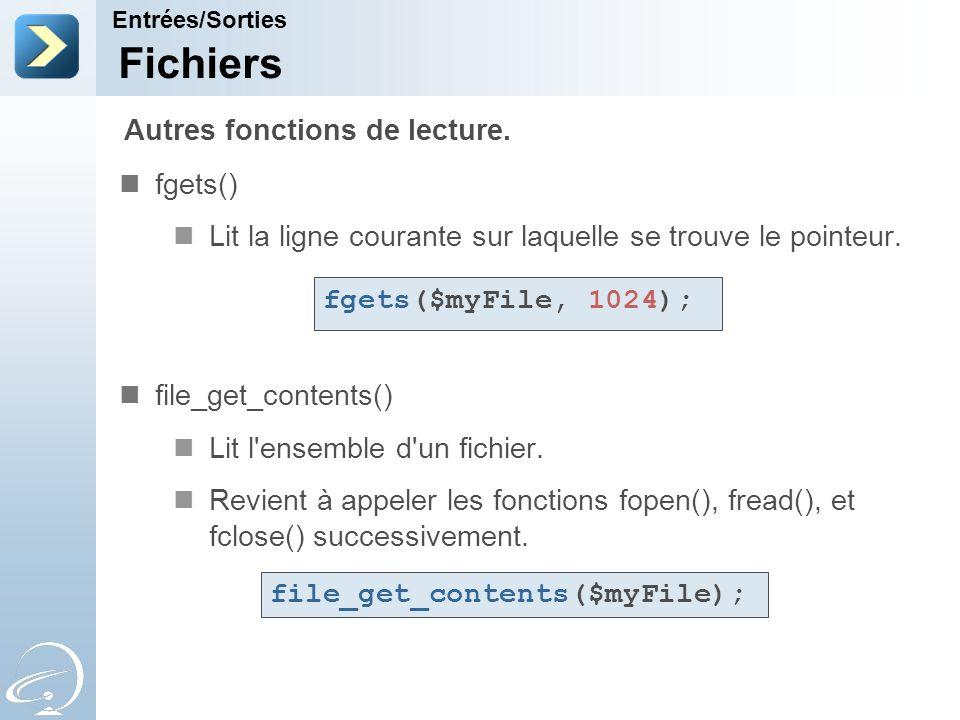 Fichiers Autres fonctions de lecture. fgets()
