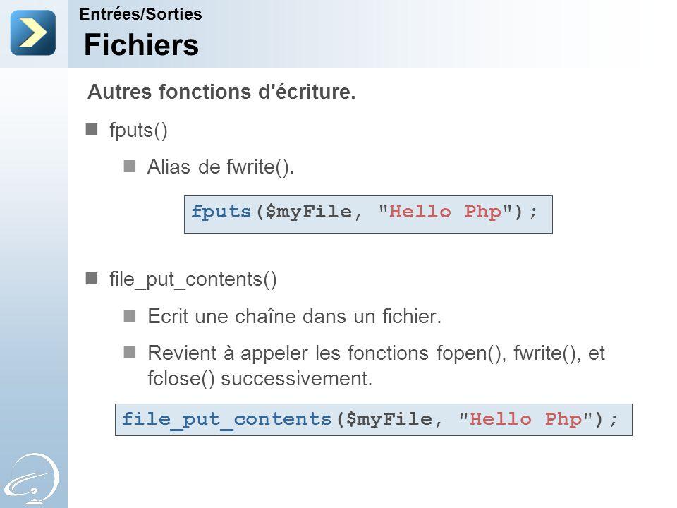 Fichiers Autres fonctions d écriture. fputs() Alias de fwrite().