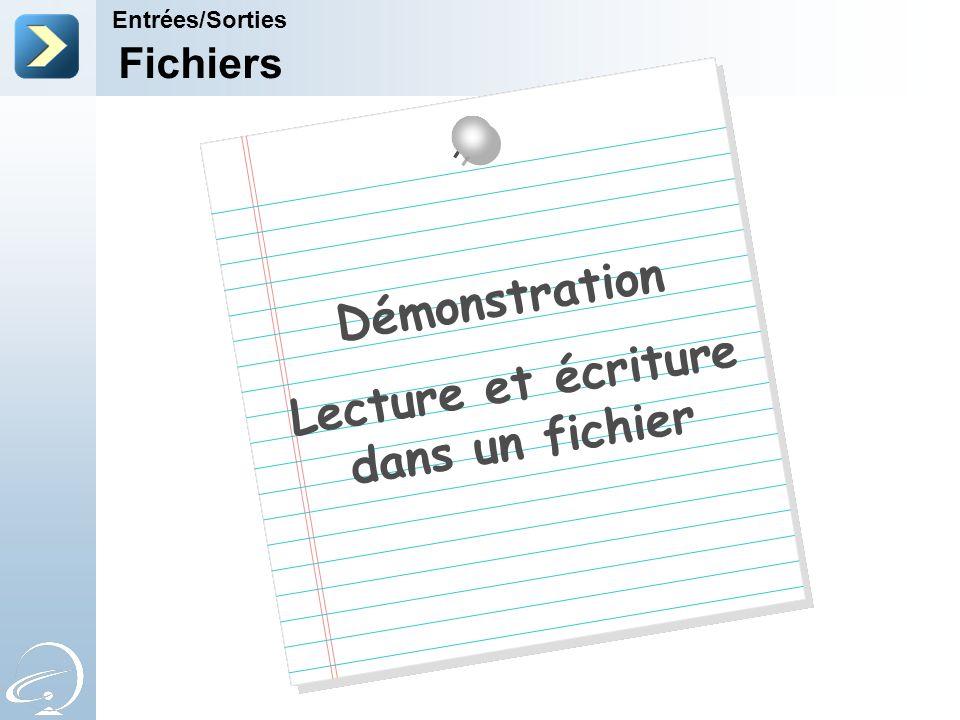 Lecture et écriture dans un fichier