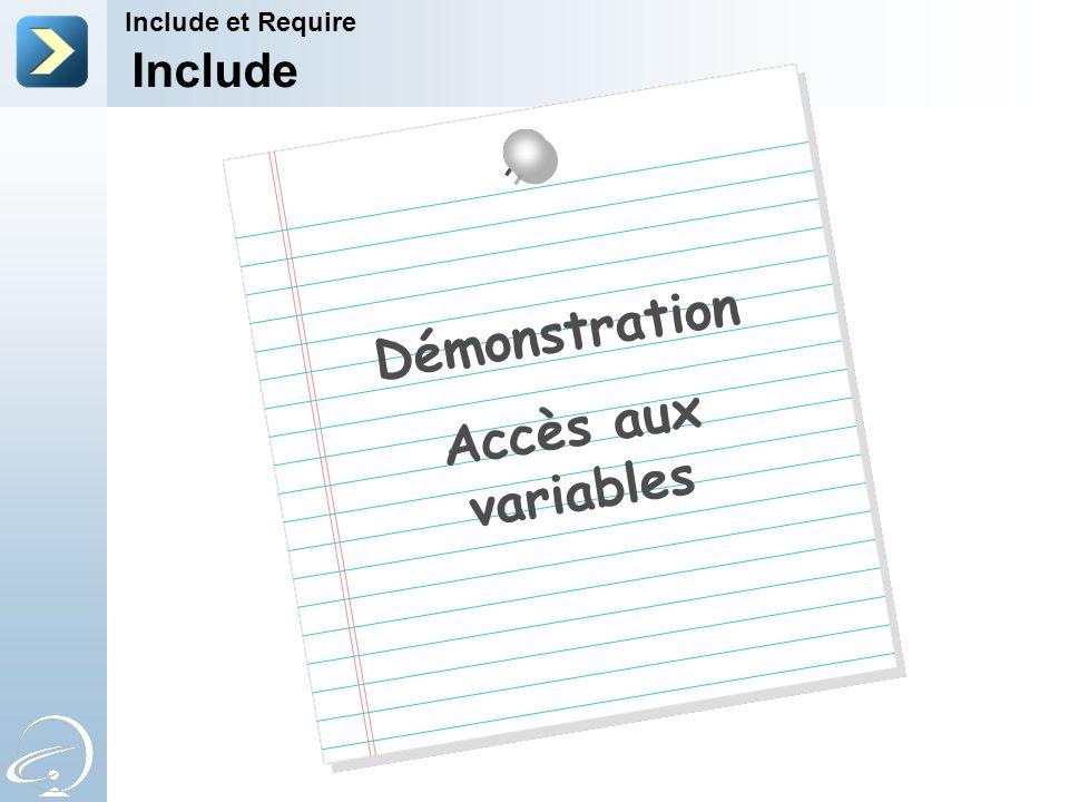 Démonstration Accès aux variables