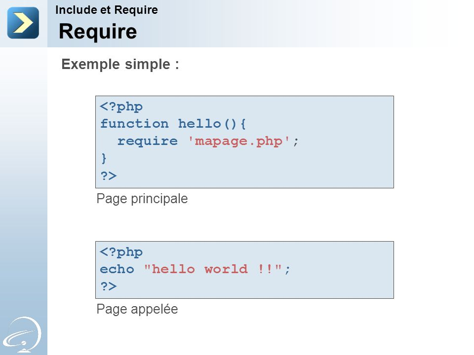 Require Exemple simple : < php function hello(){