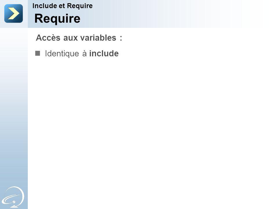 Require Accès aux variables : Identique à include Include et Require