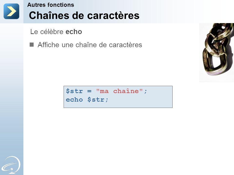 Chaînes de caractères Le célèbre echo Affiche une chaîne de caractères