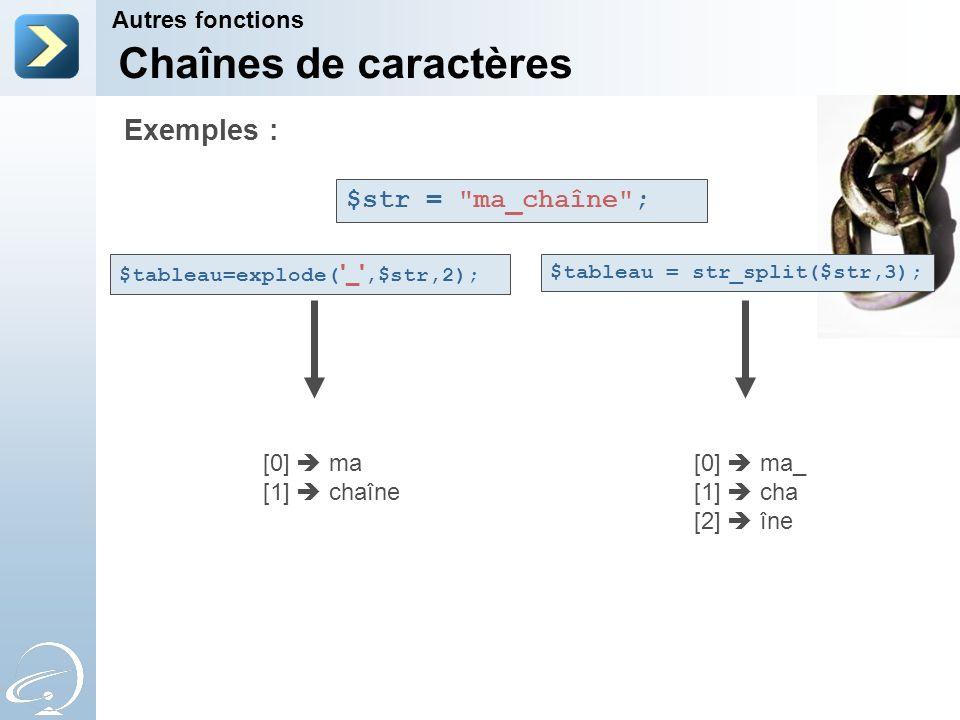 Chaînes de caractères Exemples : $str = ma_chaîne ; Autres fonctions