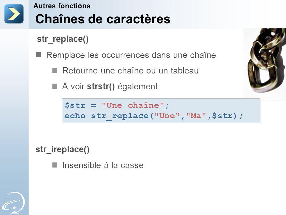 Chaînes de caractères str_replace()