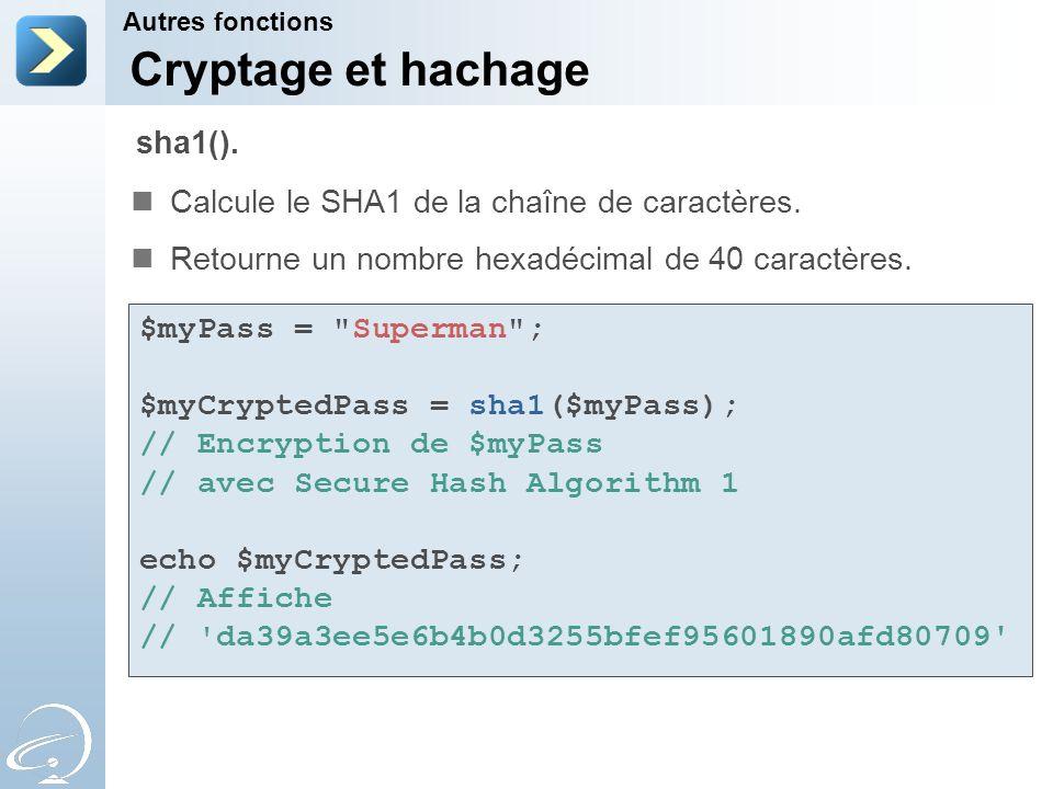 Cryptage et hachage sha1().