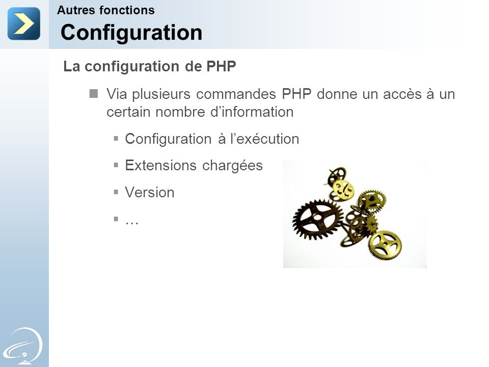Configuration La configuration de PHP