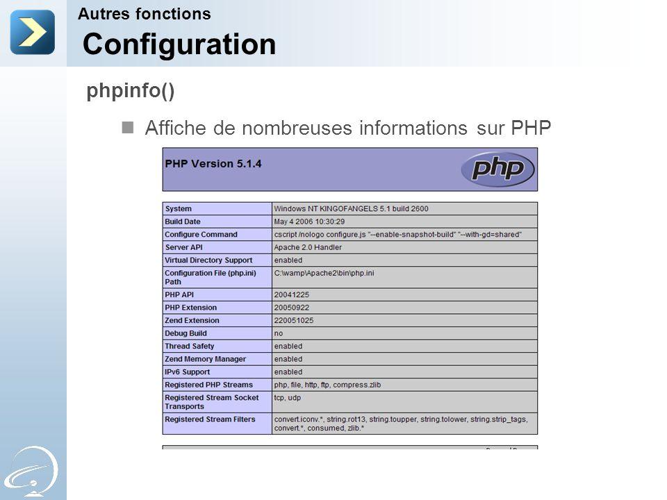 Configuration phpinfo() Affiche de nombreuses informations sur PHP