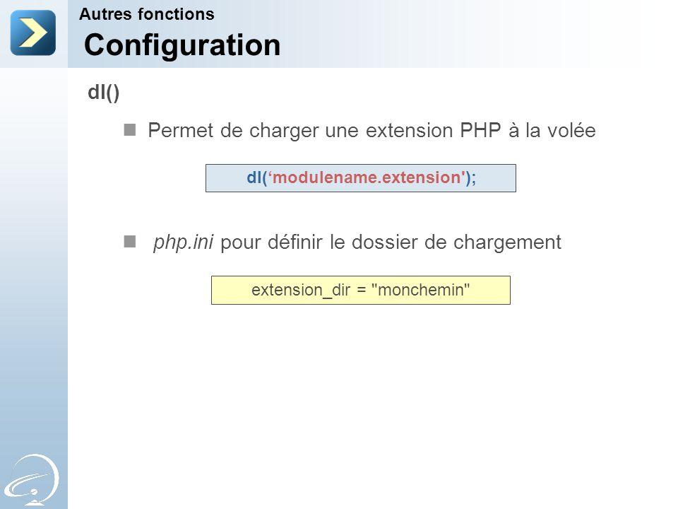 Configuration dl() Permet de charger une extension PHP à la volée
