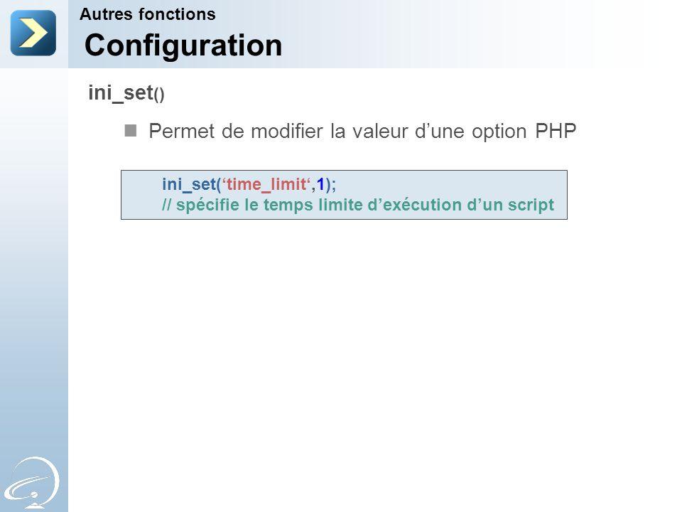 Configuration ini_set() Permet de modifier la valeur d'une option PHP