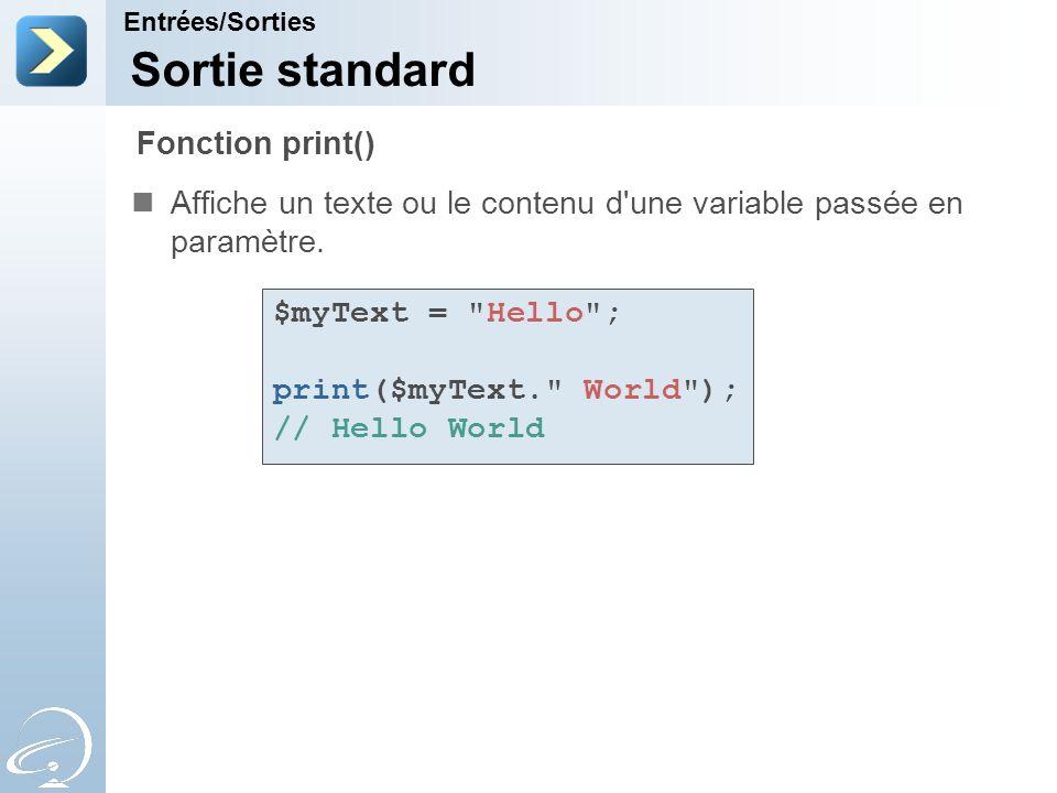 Sortie standard Fonction print()