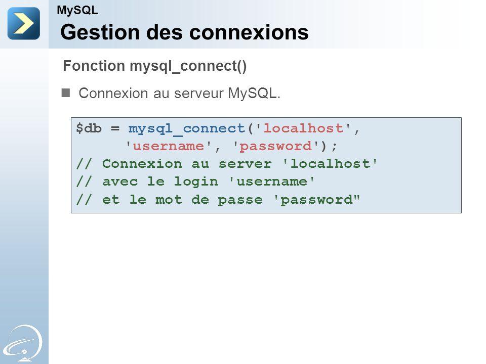 Gestion des connexions