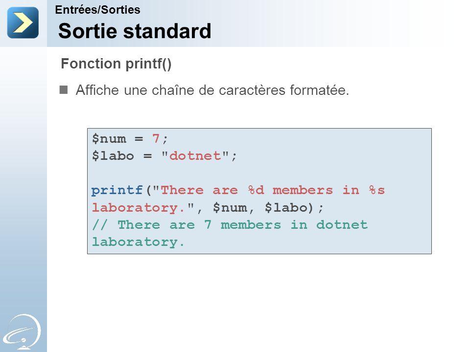 Sortie standard Fonction printf()