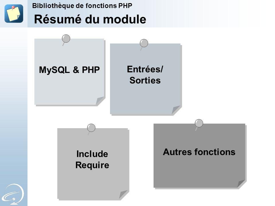Résumé du module MySQL & PHP Entrées/ Sorties Autres fonctions Include