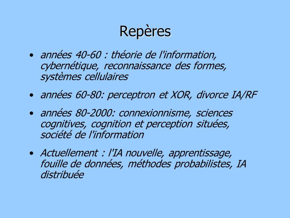 Repères années 40-60 : théorie de l information, cybernétique, reconnaissance des formes, systèmes cellulaires.