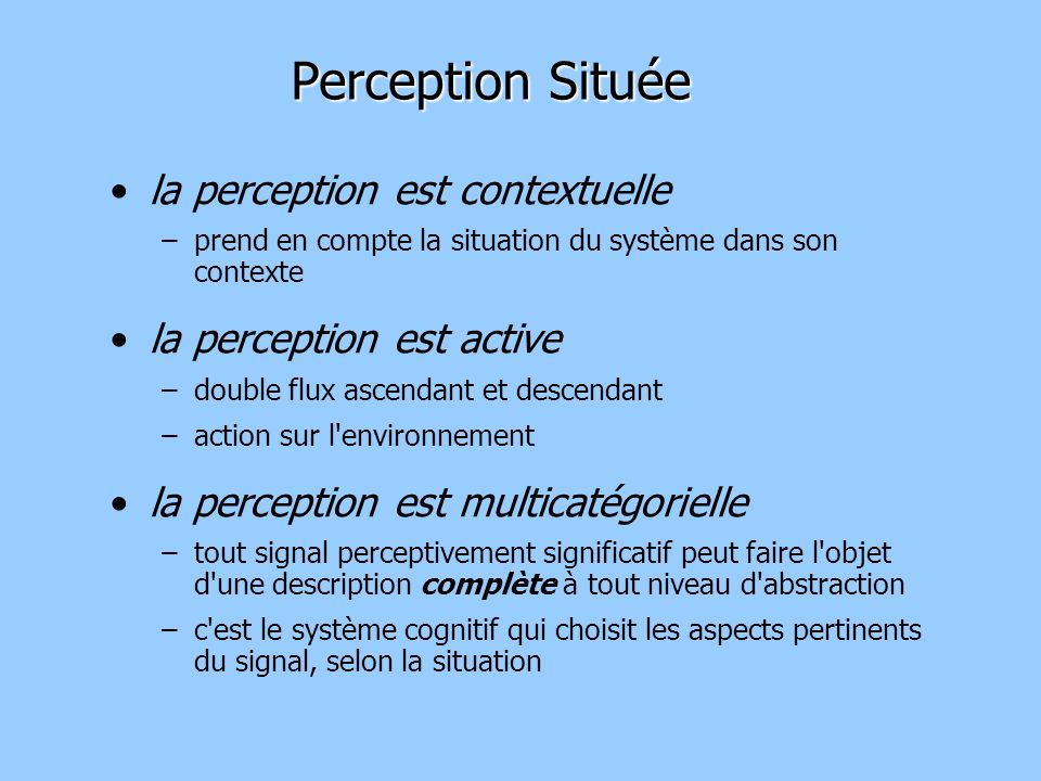 Perception Située la perception est contextuelle