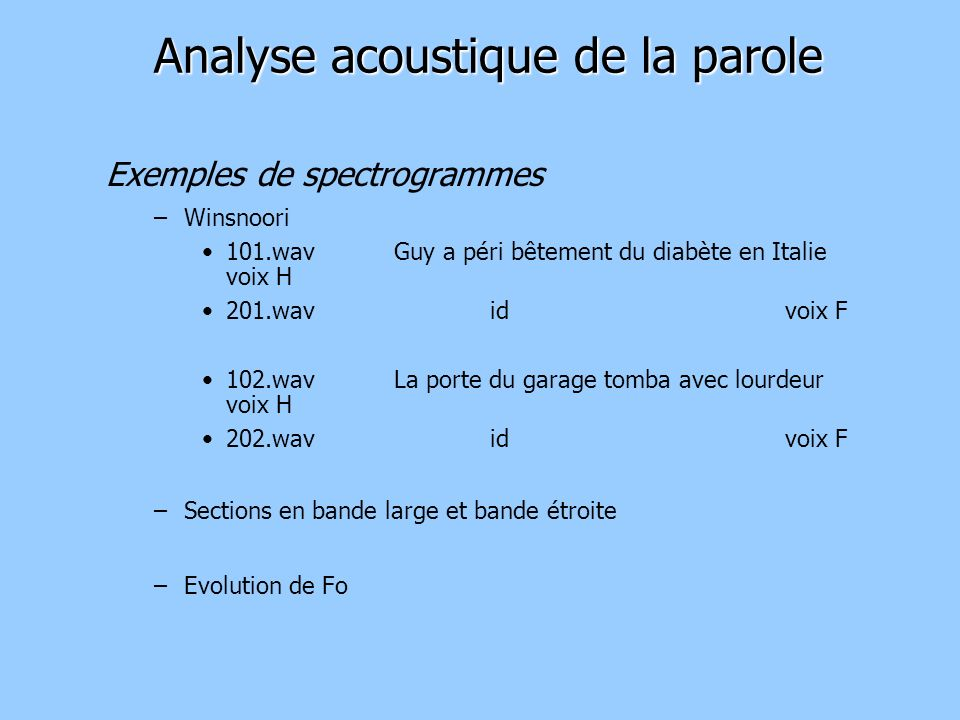Analyse acoustique de la parole