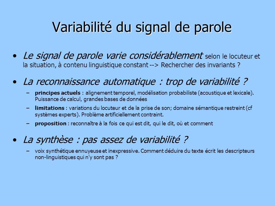 Variabilité du signal de parole