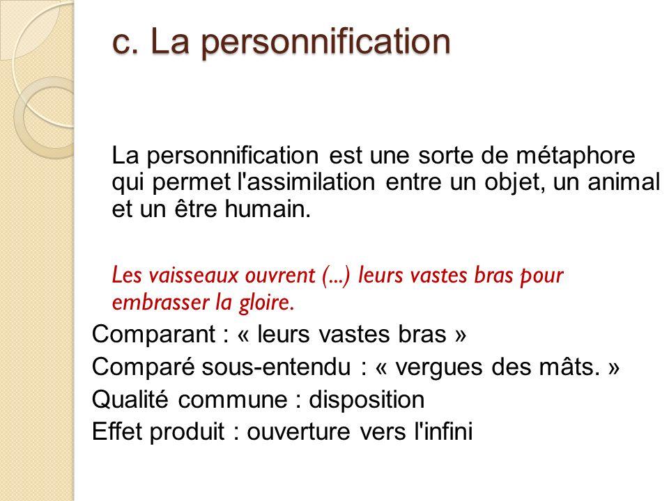 c. La personnification La personnification est une sorte de métaphore qui permet l assimilation entre un objet, un animal et un être humain.