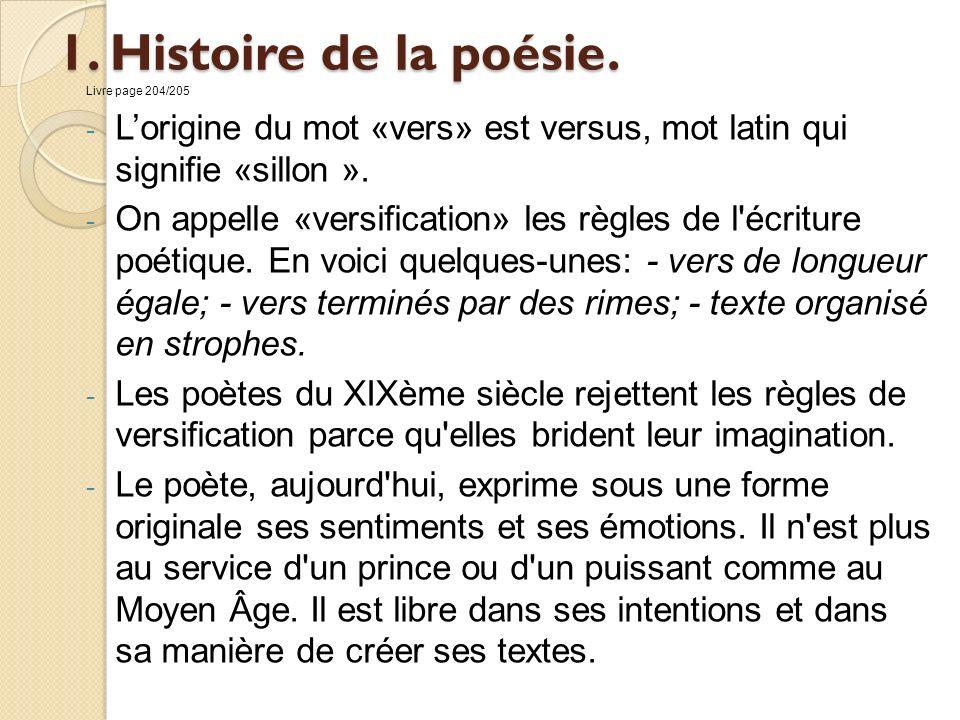 Livre page 204/205 L'origine du mot «vers» est versus, mot latin qui signifie «sillon ».