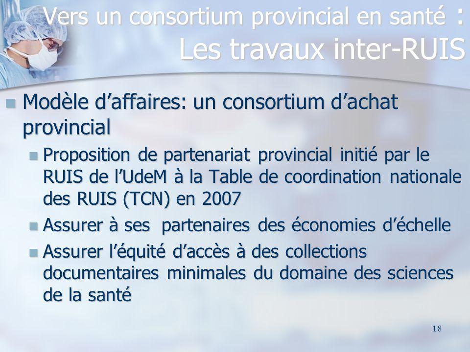 Vers un consortium provincial en santé : Les travaux inter-RUIS