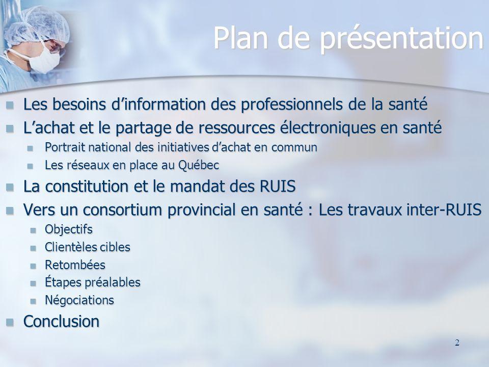 Plan de présentation Les besoins d'information des professionnels de la santé. L'achat et le partage de ressources électroniques en santé.