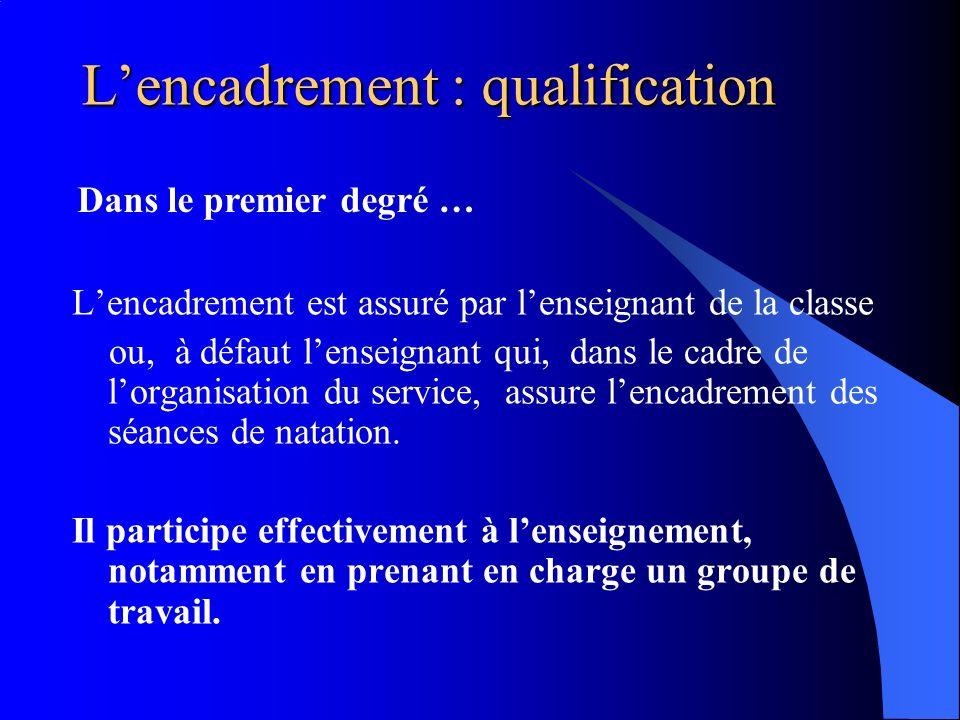 L'encadrement : qualification