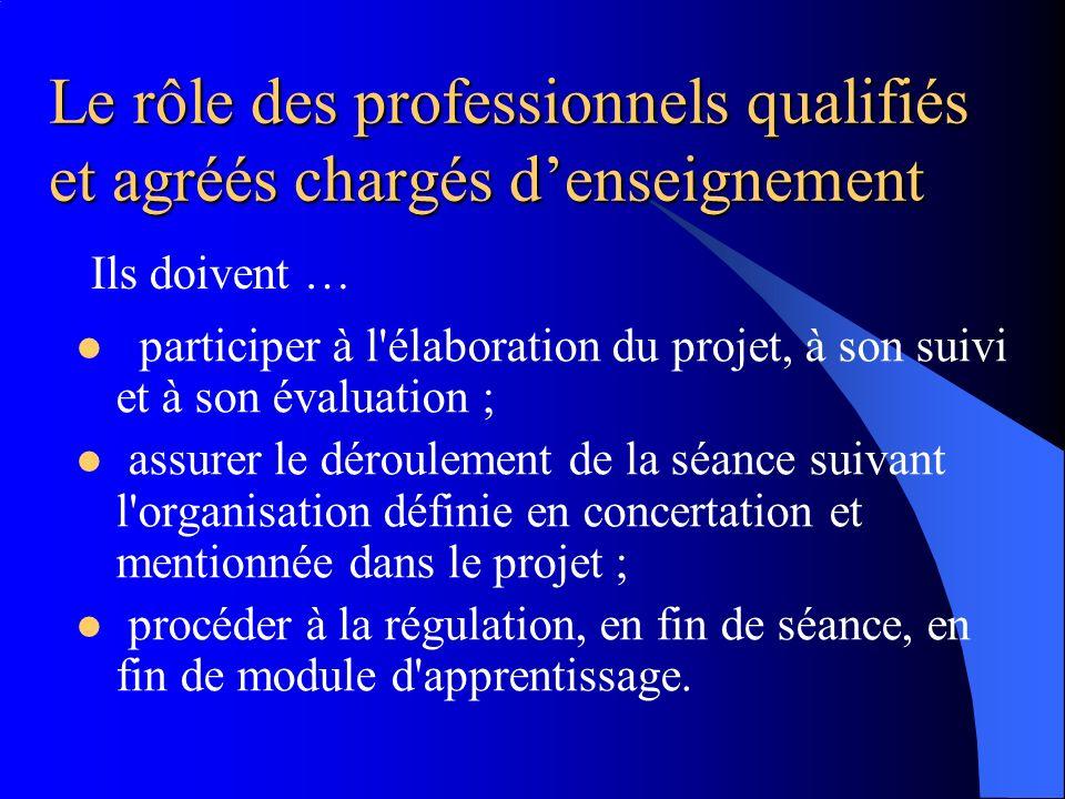 Le rôle des professionnels qualifiés et agréés chargés d'enseignement