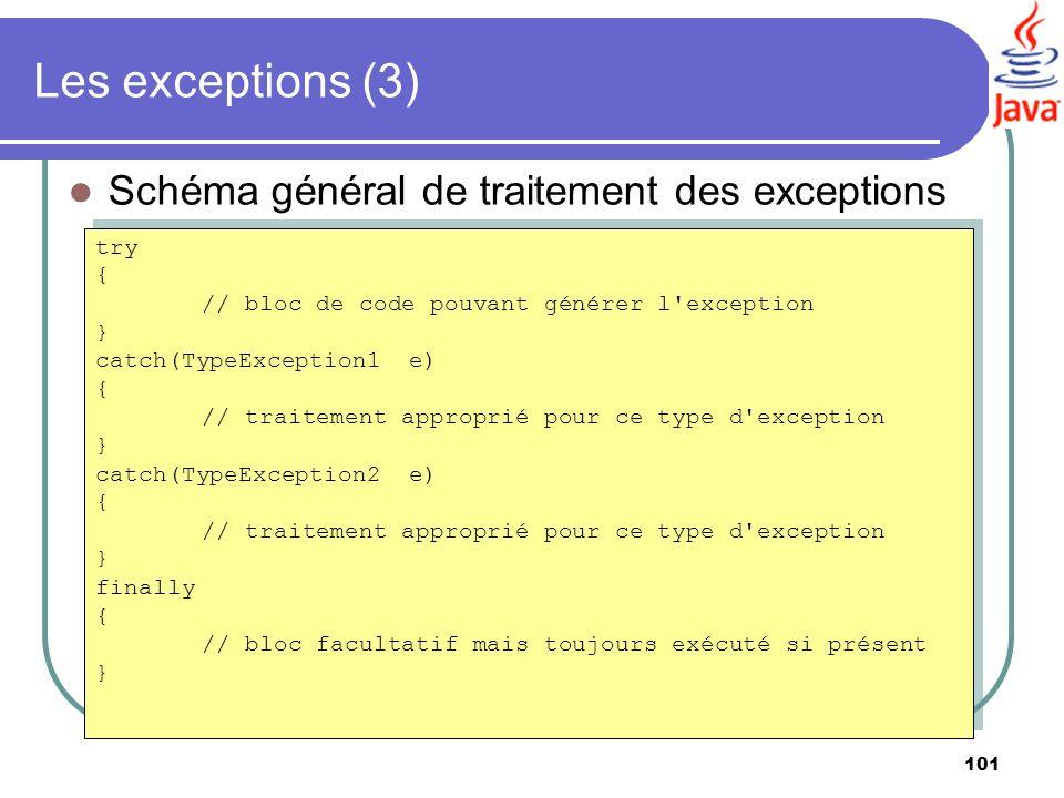 Les exceptions (3) Schéma général de traitement des exceptions try {