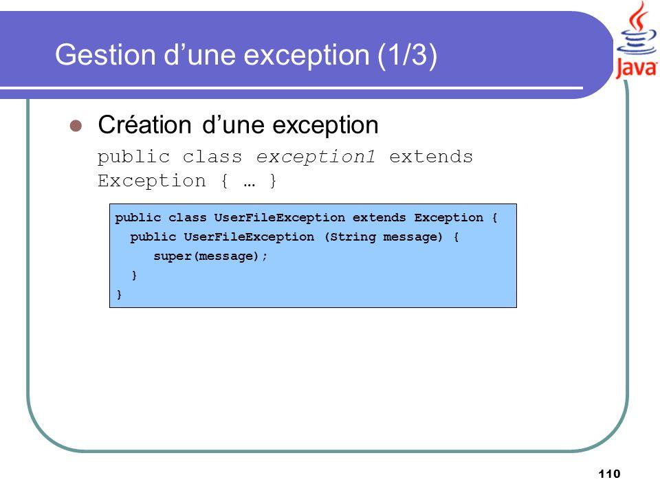 Gestion d'une exception (1/3)