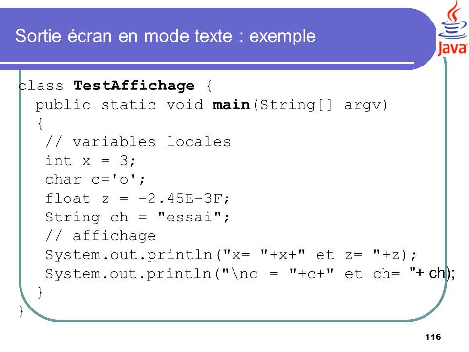 Sortie écran en mode texte : exemple