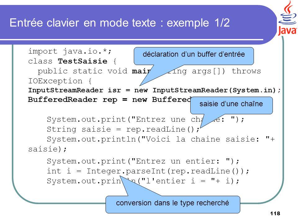 Entrée clavier en mode texte : exemple 1/2