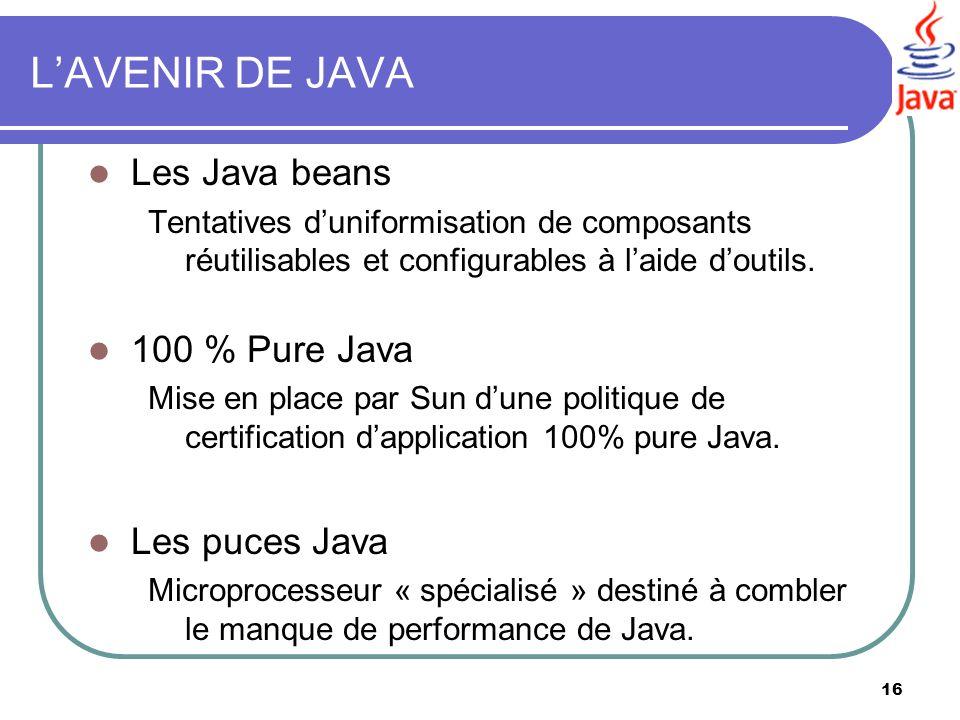L'AVENIR DE JAVA Les Java beans 100 % Pure Java Les puces Java