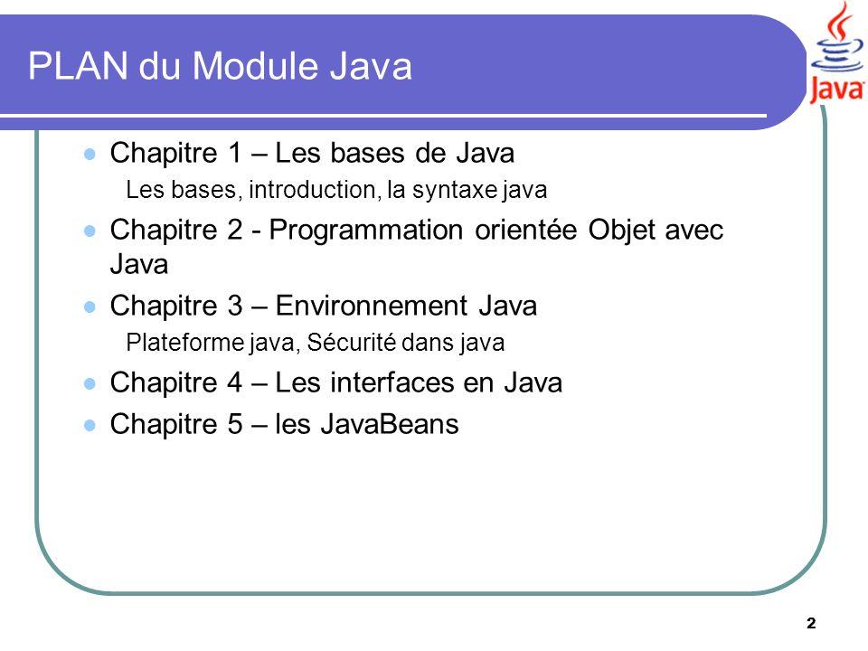 PLAN du Module Java Chapitre 1 – Les bases de Java