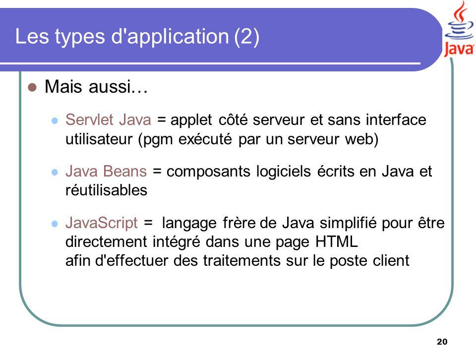Les types d application (2)