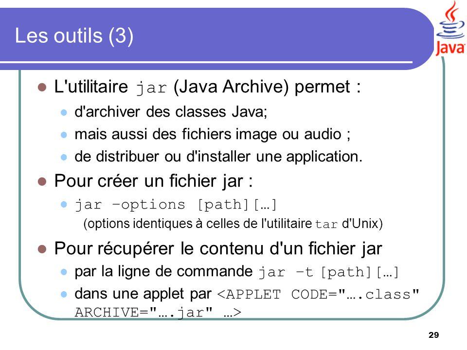 Les outils (3) L utilitaire jar (Java Archive) permet :