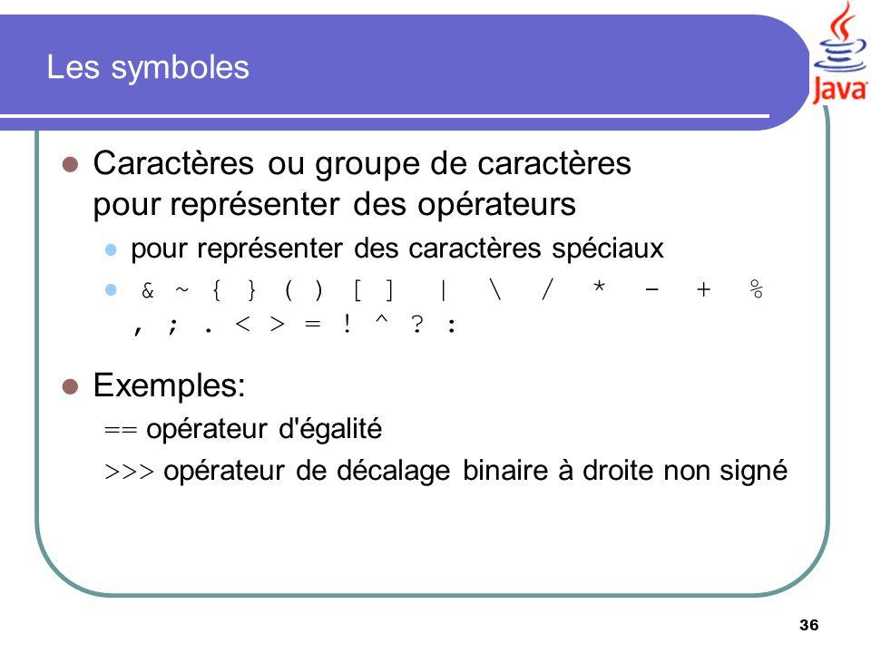 Caractères ou groupe de caractères pour représenter des opérateurs