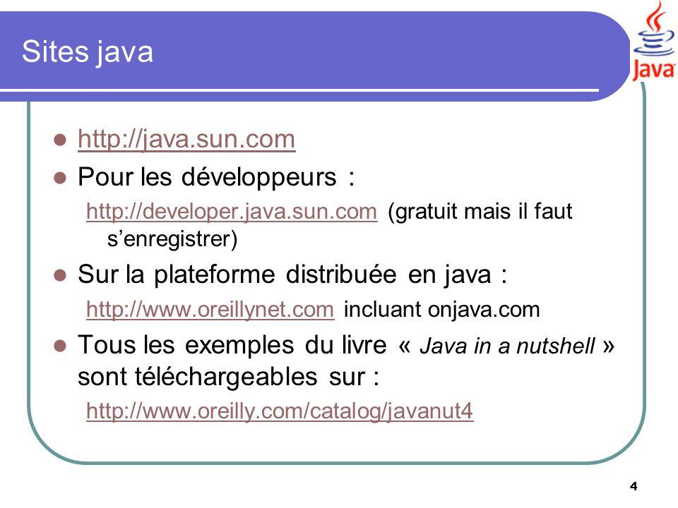 Sites java http://java.sun.com Pour les développeurs :