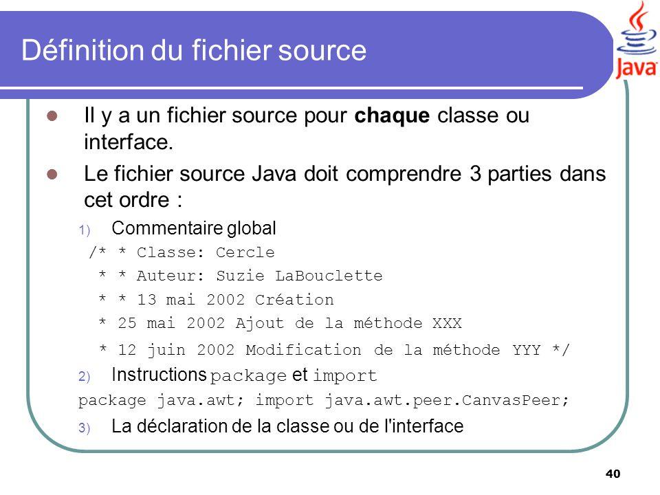 Définition du fichier source