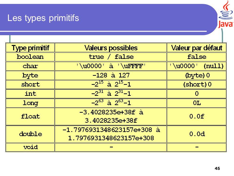 Les types primitifs Les valeurs particulières de la norme IEEE754 sont fournies par les classes java.lang.Float et.