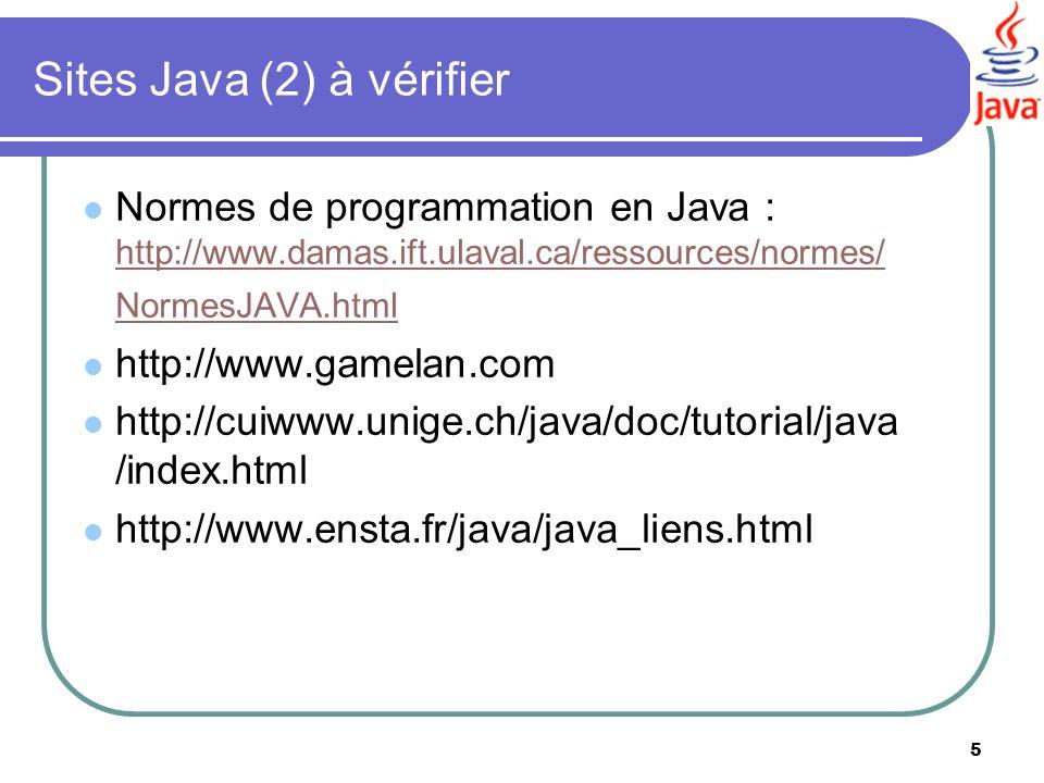 Sites Java (2) à vérifier