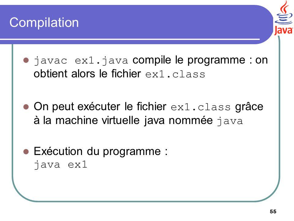 Compilation javac ex1.java compile le programme : on obtient alors le fichier ex1.class.