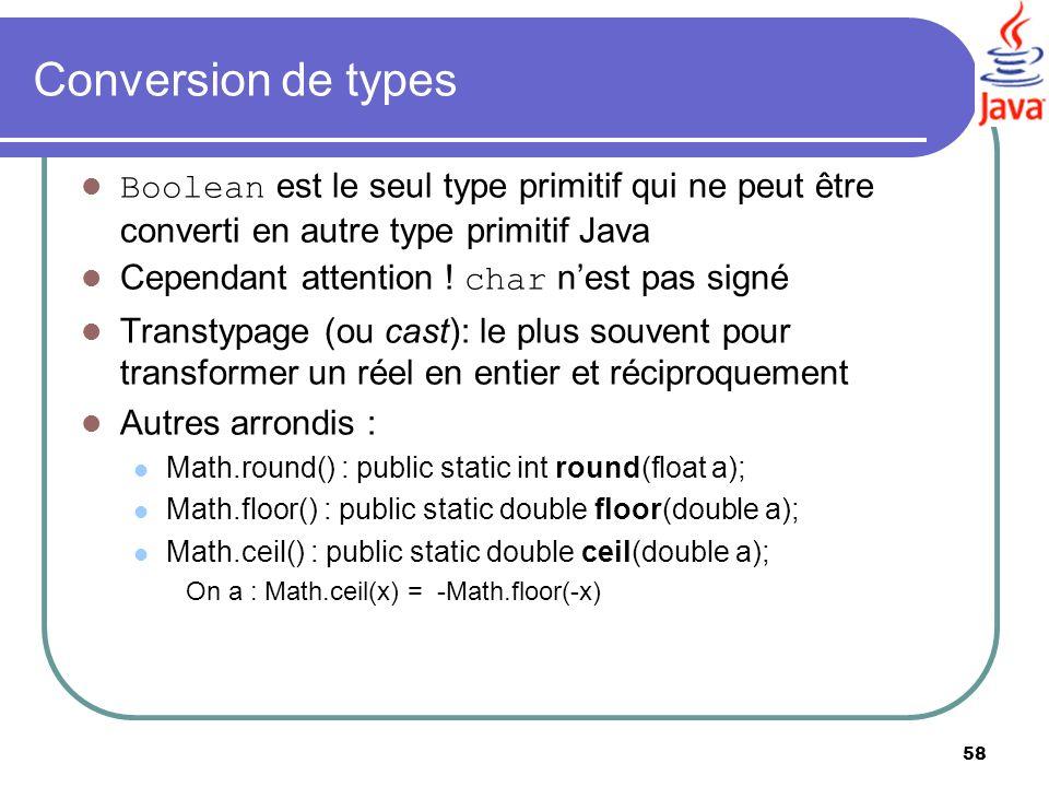 Conversion de types Boolean est le seul type primitif qui ne peut être converti en autre type primitif Java.