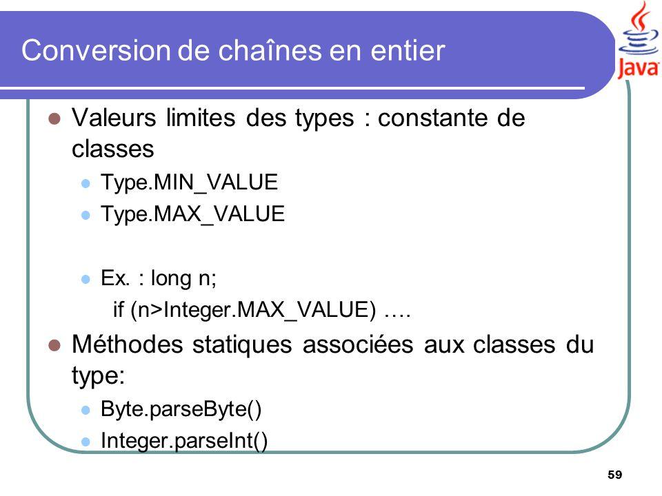 Conversion de chaînes en entier