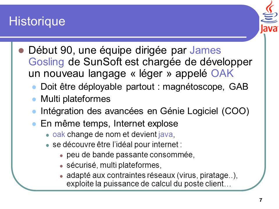 Historique Début 90, une équipe dirigée par James Gosling de SunSoft est chargée de développer un nouveau langage « léger » appelé OAK.