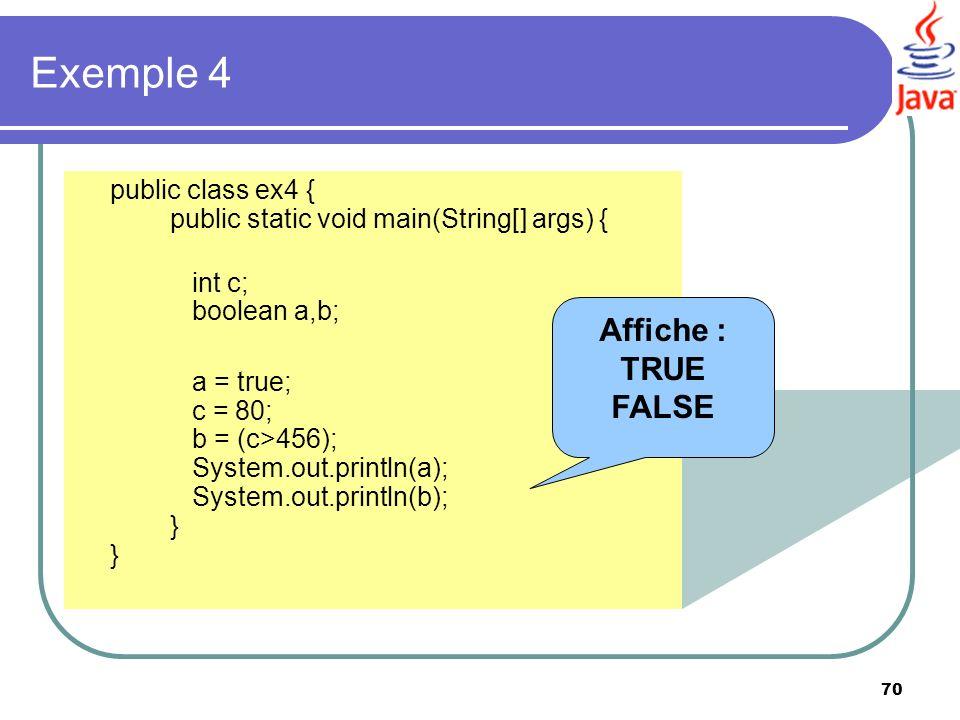 Exemple 4 Affiche : TRUE FALSE int c; boolean a,b;