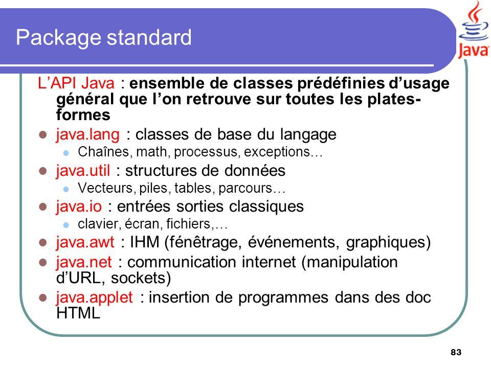 Package standard L'API Java : ensemble de classes prédéfinies d'usage général que l'on retrouve sur toutes les plates-formes.