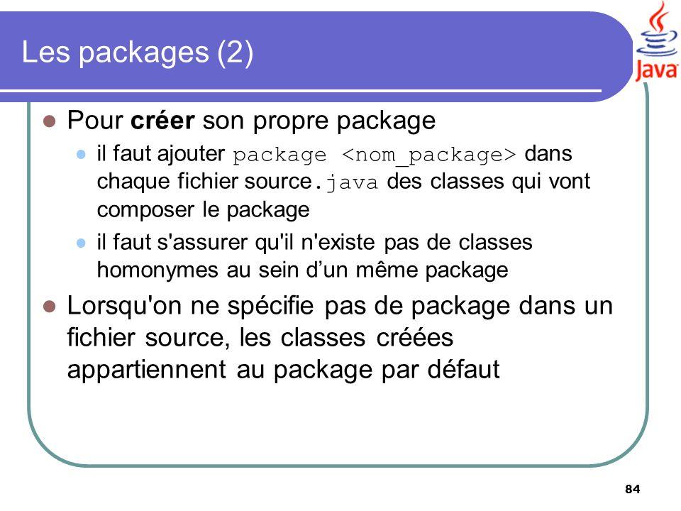 Les packages (2) Pour créer son propre package